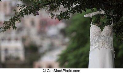 Wedding dress in Italian street outdoors