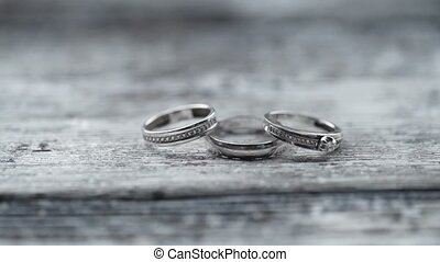 Three rings with diamonds - Three wedding rings with...