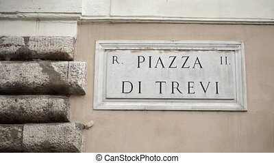 Piazza di Trevi sign in Rome