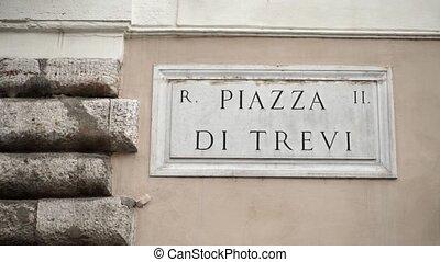 Piazza di Trevi sign in Rome