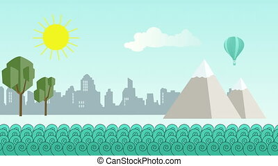 Flat cartoon panoramic city with ocean in front - animation...