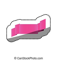 sticker magenta shiny satin ribbon icon decorative vector...