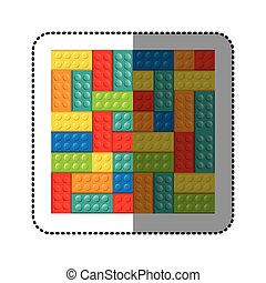sticker colorful building toy bricks lego icon toy vector...