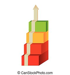 colored diagram cubes with arrow up
