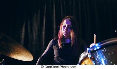 Night club music - sensual dashing girl percussion drummer...