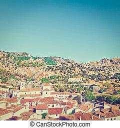 Grazalema - Aerial View to the White Spanish City of...