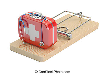 Addiction from medicine and pharmaceutical industry concept. Mousetrap with first aid kit, 3D rendering