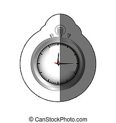 sticker realistc silver stopwatch graphic vector...