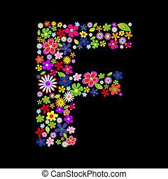 Vector flower font, letter F