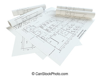 Rolled House Blueprints. Isolated