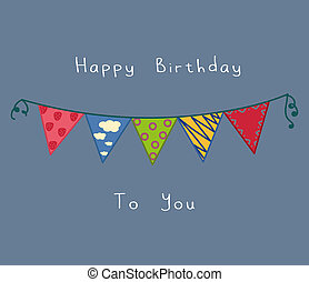 cute birthday decoration card with blue background