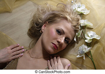 woman beauty face with flower