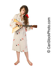 pretty woman with a folk russian stringed instrument in her...