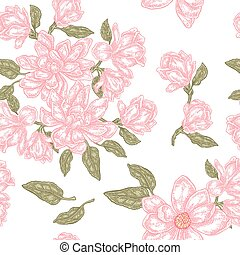 Vintage magnolia flowers, buds and leaves. Vector seamless pattern. Illustration for fabrics, gift packaging, textiles and card design