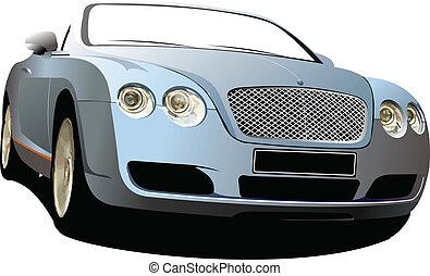 Blue  car cabriolet on the road. V
