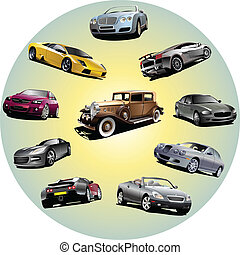 Ten cars in circle. Vector illustration