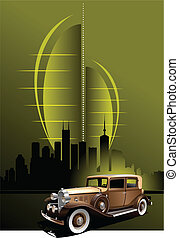 Retro car on futuristic abstract background. Vector...