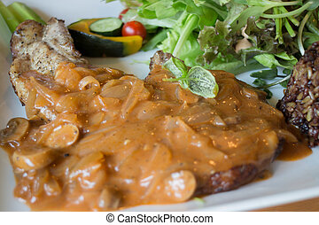 Pork Chops With Mushroom Gravy, stock photo