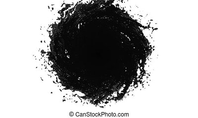 Black Liquid tornado on white background. Beautiful colored paint like black oil is whirling. Isolated transparent vortex of liquid like car paint, 3d animation with alpha matte. Version 2