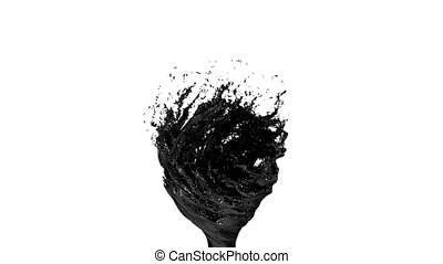 Black Liquid tornado on white background. Beautiful colored paint like black oil is whirling. Isolated transparent vortex of liquid like car paint, 3d animation with alpha matte. Version 4