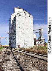 Grain Elevator standing on the Canadian Prairie town of...