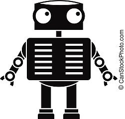 Robot with big eyes icon, simple style - Robot with big eyes...
