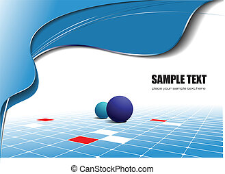 Abstract blue wave background with dices image. Vector...