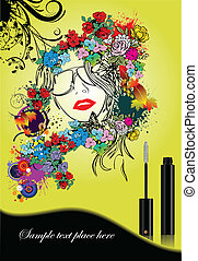 Floral woman silhouette with masca