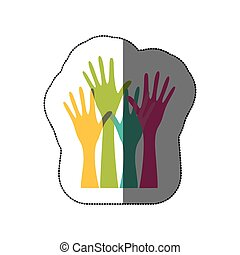 sticker colorful set hands raised icon vector illustration