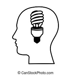 black contour human face with fluorescent bulb in mind