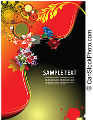 Floral background with old ship image Vector illustration...