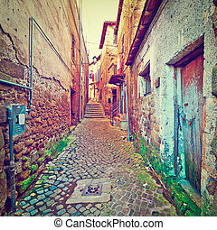 Old Buildings - Narrow Alley with Old Buildings in Italian...