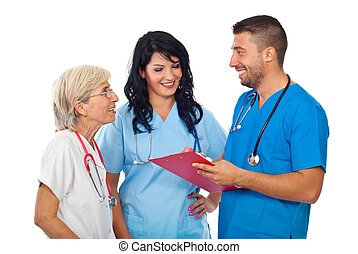 Group of doctors having happy conversation - Group of three...