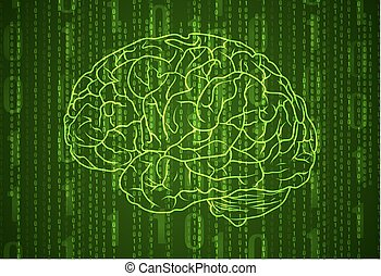 Background with numbers and brain. Abstract green VECTOR...