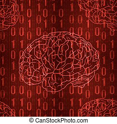 VECTOR seamless pattern with falling numbers and brain, red...