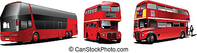 Two generations of London double Decker red bus. Vector...