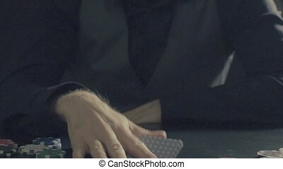 Man's hands showing tricks with playing cards - Card tricks...