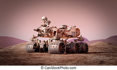 Mars rover on the Mars. 3d rendering