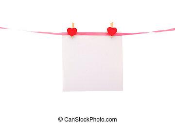 hogar, formado, papel, alfileres, línea, pedazo