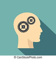 Profile of the head with gears inside icon