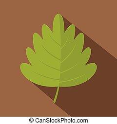 Green hawthorn leaf icon, flat style - Green hawthorn leaf...