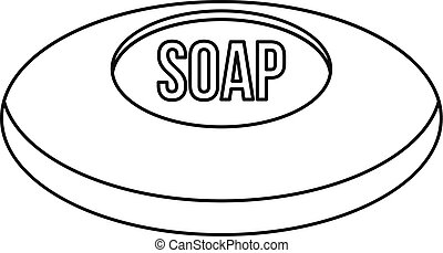 Piece of soap icon, outline style - Piece of soap icon....