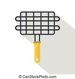 Steel grid for grill icon, flat style