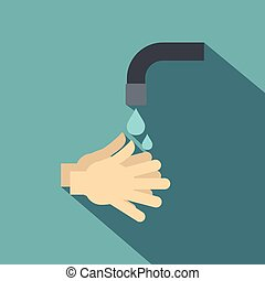 Washing hands under running water icon, flat style - Washing...