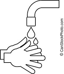 Washing hands icon, outline style - Washing hands icon....