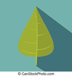 Green poplar leaf icon, flat style - Green poplar leaf icon....