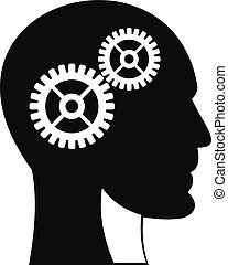 Gears in human head icon, simple style