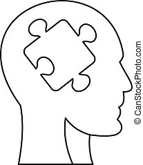Man head silhouette with puzzle piece icon. Outline...
