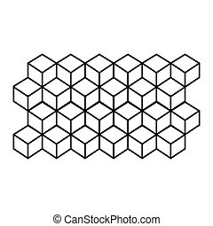 monochrome contour line with hexagon pattern vector...