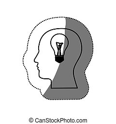 sticker black contour human face with bulb light in mind